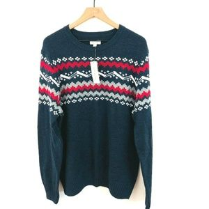 NWT! Sonoma Blue Fair Isle Knit Sweater XL